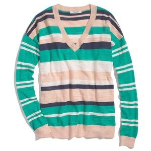 Madewell Striped V-Neck Sweater
